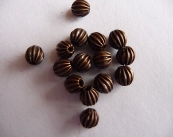 Bead, Antiqued, Copper Plated, Brass, 5 point 5x5mm, fluted, round, Pkg Of 10
