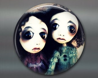 "3.5"" gothic doll fridge magnet, large magnet kitchen decor, gothic art decor, stocking stuffer gift for her,  housewarming gift MA-AD33"