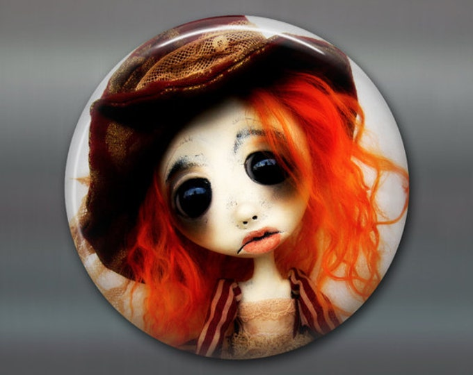 """3.5"""" gothic doll fridge magnet, large magnet, kitchen decor, gift for doll collector, gothic art decor, stocking stuffer MA-AD31"""