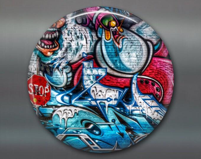 "3.5"" graffiti fridge magnet, graffiti art magnet, street art magnet, kitchen decor, large magnet for fridge, big magnet MA-929"