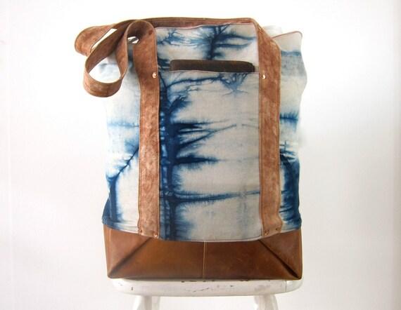 Shoulder Bag, Indigo Dyed Denim and Leather