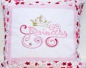 Princess - Pillowcase Embroidered Pillow case Home Decor Girls Pillow Nursery Decor