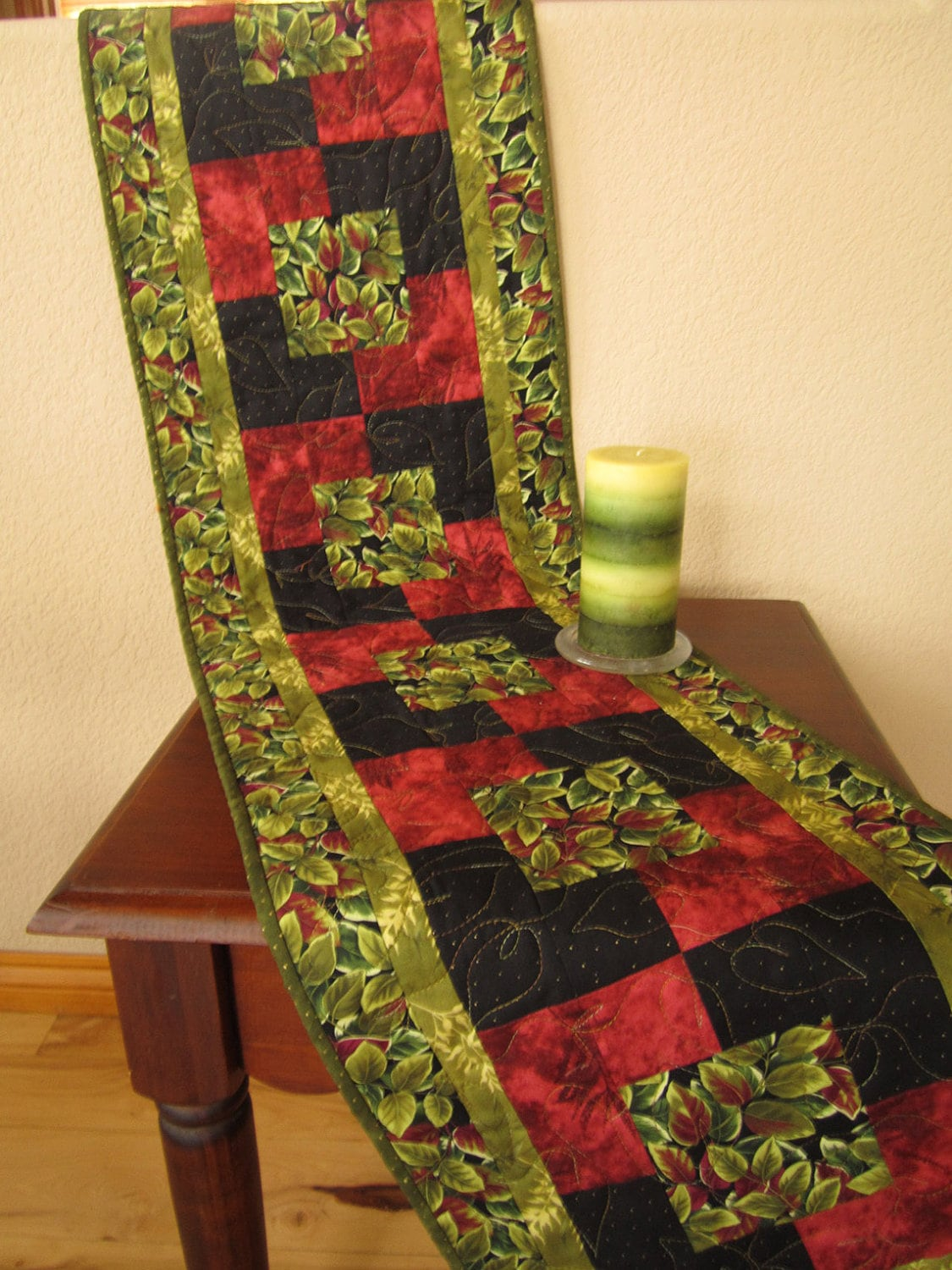 Gorgeous Leaves Long Table Runner Quilted Table Runner