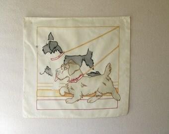 Vintage Pillow Top, art top, Pillow cover,  Dogs, terrier