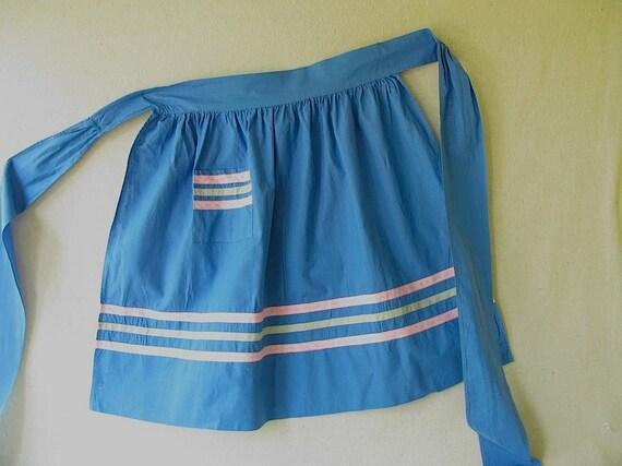 Vintage Cotton Apron Blue