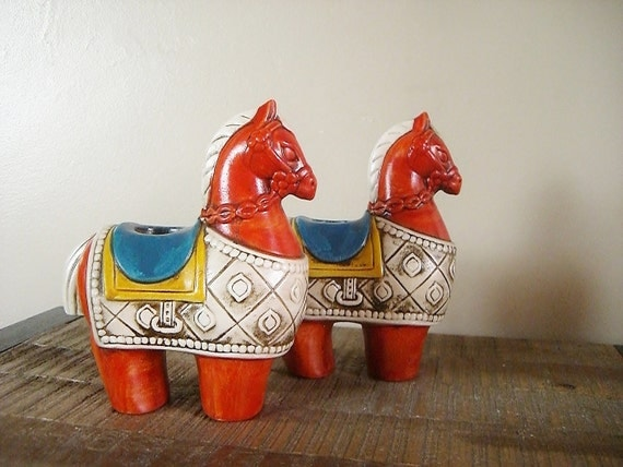 Mid Century Modern Ceramic Horse Candle Holders