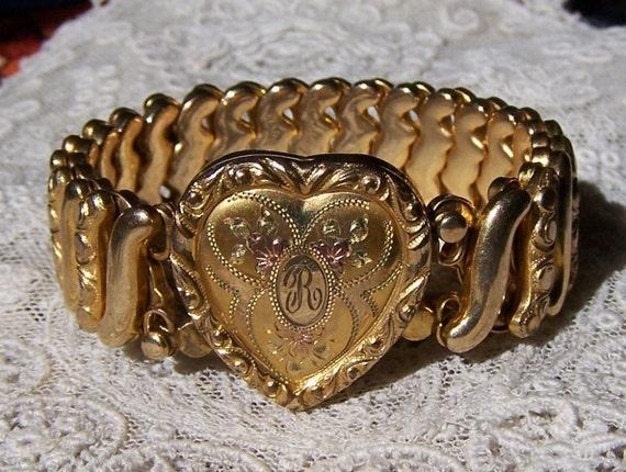 Vintage 1940s Tri Colored Gold Filled Expansion Bracelet By Leading Lady