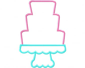 Cake 2 Cake on Pedestal Applique Machine Embroidery Design INSTANT DOWNLOAD