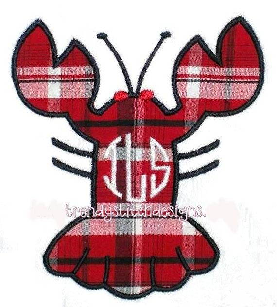 Lobster 1 Applique Design Machine Embroidery Design INSTANT DOWNLOAD