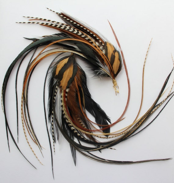 Earth Fairy - Long Feather Earrings