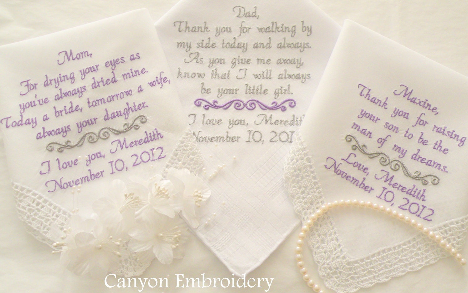 Wedding hankerchiefs handkerchief parents gifts