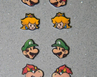 Paper Mario Earrings, Paper Luigi, Paper Princess Peach, Paper Bowser earrings