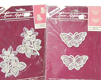Beaded Motif, Beaded Applique, White, Butterfly, Flowers, Beaded, Appliques, Lot of 4, Wedding, Bridal, Sequins, Destash, Vintage