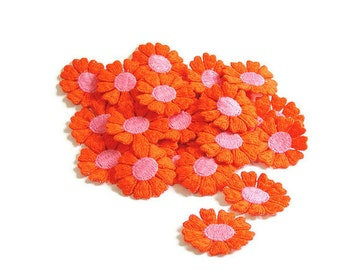 Orange Flower Applique, Orange Applique, Hippie Flowers, 1960s Flowers, Applique, Embroidered, Orange, Pink, Lot of 25, Orange and Pink