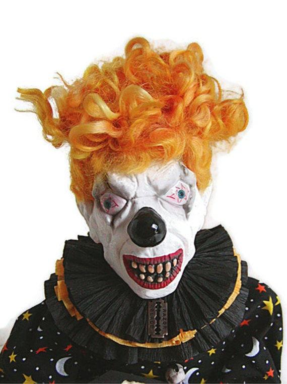 Clown Doll, Scary Clown, Yellow, Creepy Clown, Doll, Mustard, Citrine, Gold, Saffron, Primitive Doll, Black, Skeleton, Moon and Stars