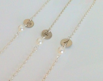4 Simple Personalized Initial and Pearl Bracelet gifts  - set of 4 Bridesmaid Gifts,Initial Bracelet ,Wire wrapped pearl