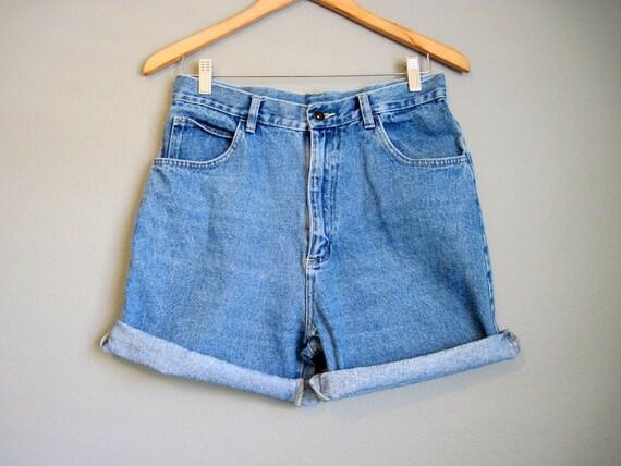 High Waisted Jean Shorts Vintage Denim Hi Rise Cuffs Large