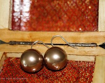 Large Bronze Cream Swarovski Pearl Sterling Silver Earrings, Pearls Earrings, Bridesmaid Gift Earrings, Minimalist Style Earrings