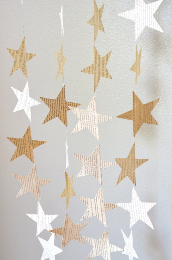 Large Stars Garland - vintage paper, 10 feet long