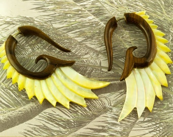Fake Gauges, Handmade, Wood Earrings, Cheaters, Organic, Plugs, Split, Tribal Style -  Nava Wings Shell MOP Wood