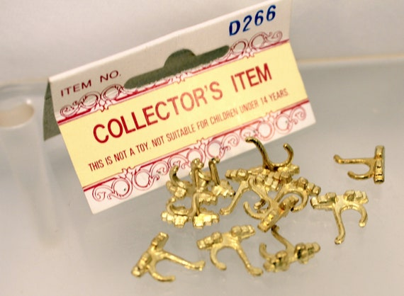 12 Miniature Coat Towel Hooks Brass Dollhouse Supply