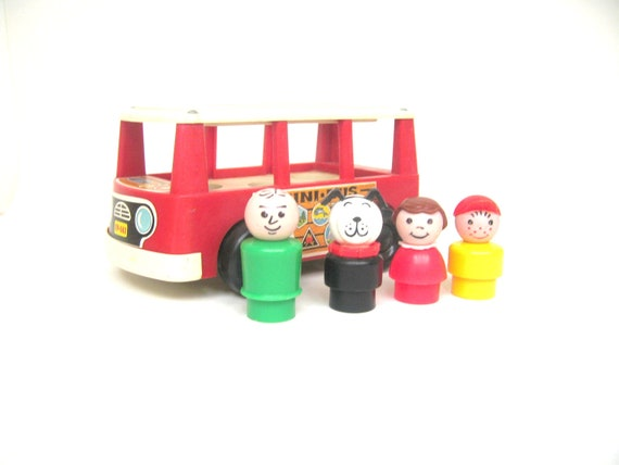 Vintage Fisher Price Minibus and Passengers