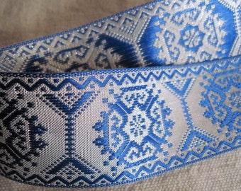 Geometric  Octagon jacquard ribbon SILVER  and BLUE