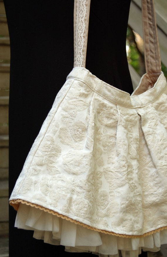 Cream Brocade And Lace Upcycled Bag