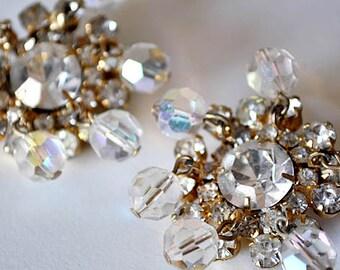 Vintage Rhinestone Crystal Earrings