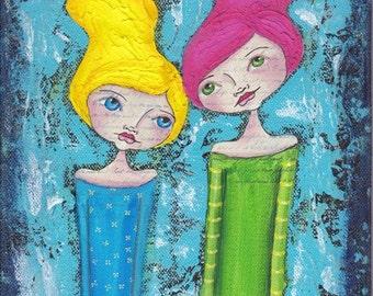 Soul Sisters - original mixed media painting by Natasha May