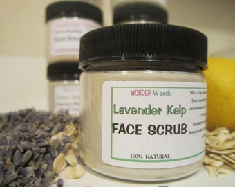 Lavender Kelp, FACE Scrub, ALL Natural, with Honey and Organic Oatmeal