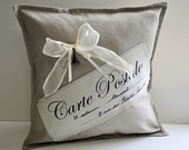 "Linen Carte Postale pillow cover 16""x16"""
