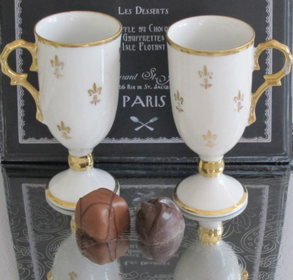 Footed China French Fleur de lis Cups Chocolate Cups White and Gold Cups Set of 2 French Country Paris Chic Coffee Lovers Gift Cappuccino