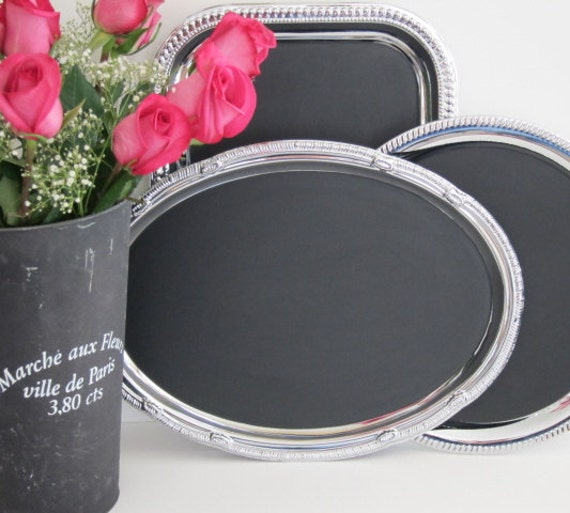 SALE! Chalkboard Signs French Old World Message Magnetic Blackboard  Silver Blackboards  French Country Wedding Bridal Shower Buffet