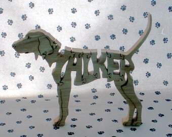Treeing Walker Coonhound Handmade Fretwork Wood Jigsaw Puzzle