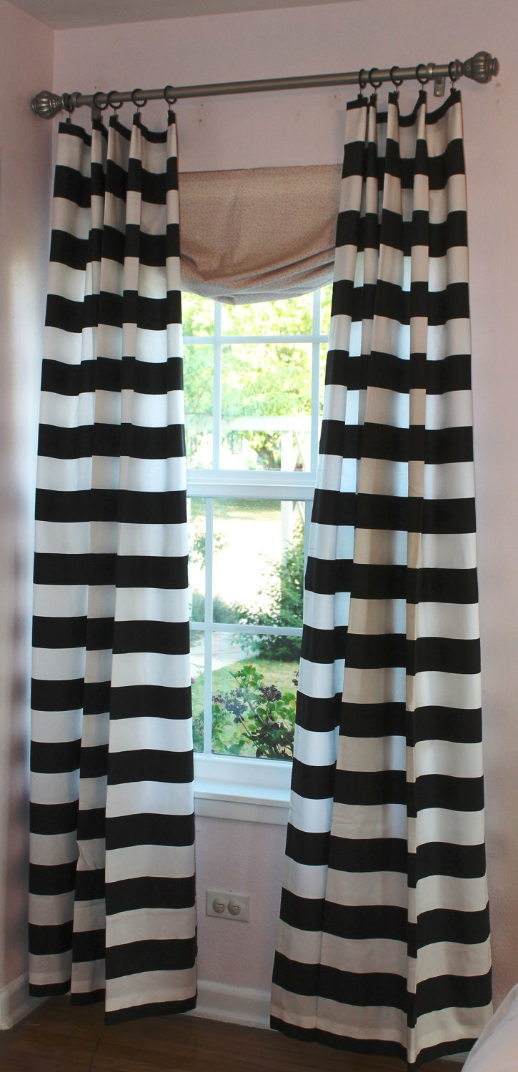 3 black and white horizontal stripe curtain panels for