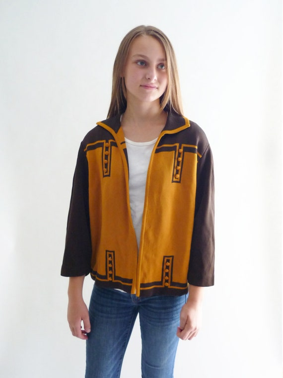 60s sweater - 1960s gold and brown cardigan