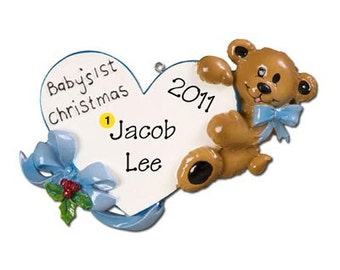Personalized Baby Boy's  First Christmas Ornament Heart Baby Bear- Newborn, Baby Shower Gift