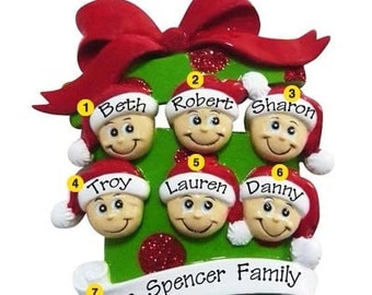 Personalized Christmas Ornament- Family of  six, Grandkids, Co-workers, Friends- Free personalization