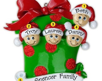 Personalized Christmas Gift Family Ornaments- Family of  four-Grandkids, Co-workers, Friends
