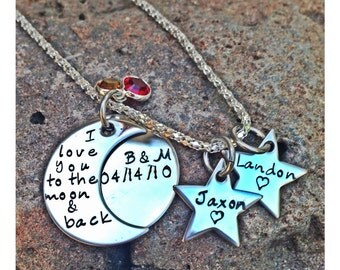 Personalized Hand Stamped I love you to the moon &back with stars