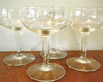 Set of 12, Vintage Champagne Coupes, Tapered Stem w Deep Bowl, Classic Hollywood Style, Mad Men, Great Gatsby