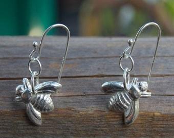 silver bee earrings, environmentalist jewelry, honey bee, bumble bee, beekeeping, bridesmaid gift, birthday, silver earring, made in america