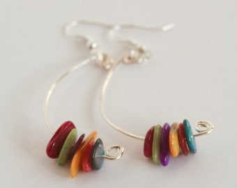 Multi-coloured mother of pearl dangle earrings.
