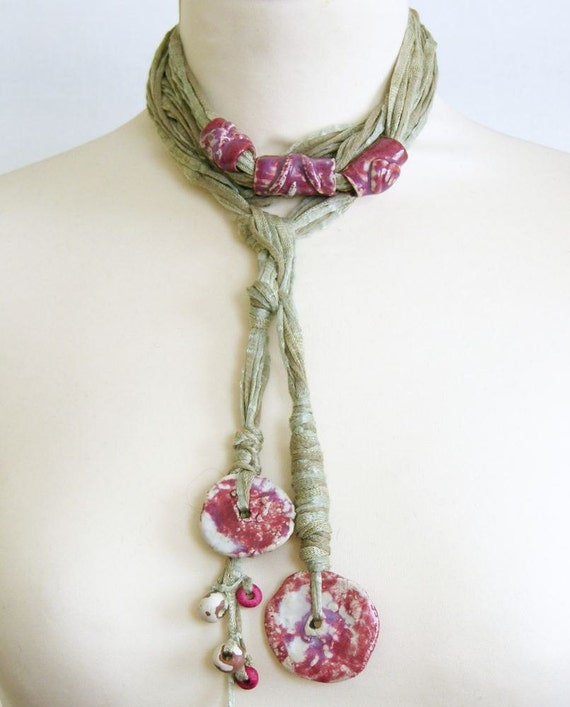 Skinny scarf lariat fiber necklace scarf necklace cotton ceramic long grey beige magenta vegan ooak ceramic beads women curationnation