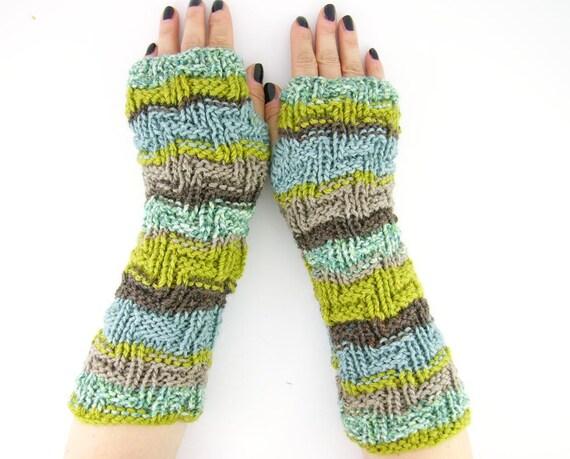 knit fingerless gloves arm warmers fingerless mittens fall mint aqua tan brown chartreuse green tagt curationnation