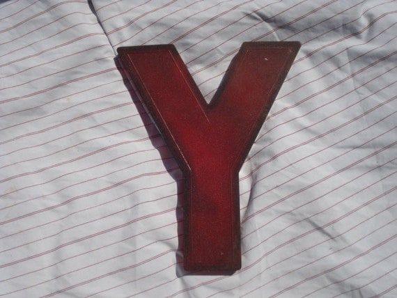 Vintage Mid Century Modern Marquee Sign Letter Red Y