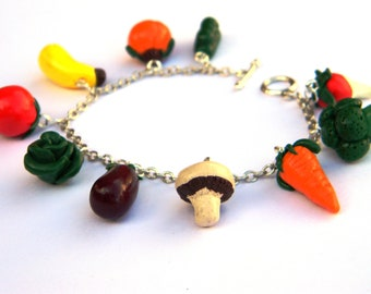 Handmade Vegetable Charm Bracelet - Polymer Clay - Unique - Spring Garden - Food Themed Jewelry - Gifts Under 30, 40, 50