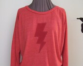 Lightning Bolt Slouchy Pullover - Red