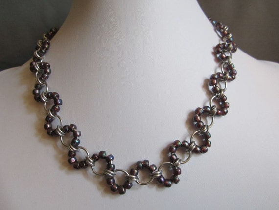 Chainmaille Necklace Japanese Wave  (Multiple Colors Available)